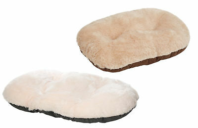 Puppy Dog Suede & Faux Fur Oval Cushion Gor Pets Nordic Cosy Pet Mattress Bed