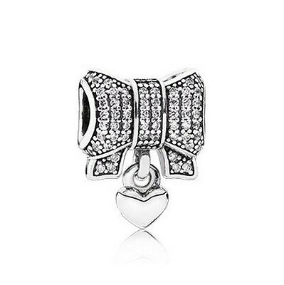 Sterling Silver European CZ Heart and Bow Charm Pave -FREE Pandora Cloth
