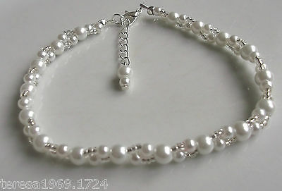 Hand made stretch white glass pearl beaded anklet ankle bracelet bridal prom