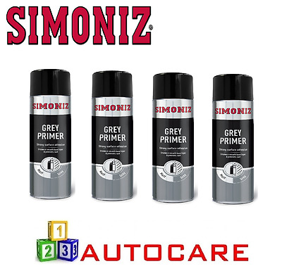 Simoniz Grey Primer Acrylic Spray x4 500ml Professional Paint Alloy Wheels