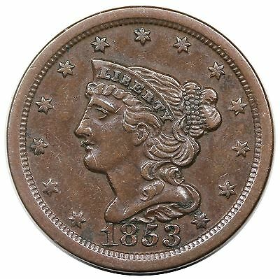 1853 Braided Hair Half Cent, C-1, XF+