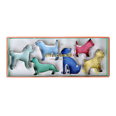 Set of 6 Dog Shaped Cookie Biscuit Pastry Cutters Stainless Steel by Meri Meri