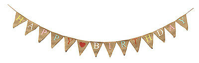 Happy Birthday Vintage Banner Shabby Chic Bunting Hessian Flags Decoration 3.5m