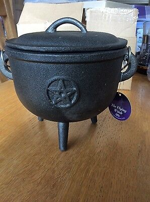 Very Large Cast Iron Cauldron, Pentagram, Pagan, Wiccan, Altar, Spells, Magick