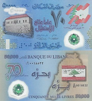 Lebanon 50000 Livres (2013) - Commemorative Polymer/70 Yrs Independence/p96 UNC