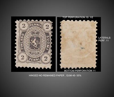 1875 -1881 Finland Coat Of Arms  Perforation 11,10.1/2 Mint With Gum