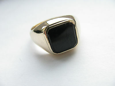 14ct Yellow Gold Gents Vintage Onyx Signet Ring 6.4g Size S Usa 9 Lovely Ring