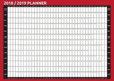 2018 / 2019 A2 Size Academic Mid Year Wall Planner Calendar AUG- AUG