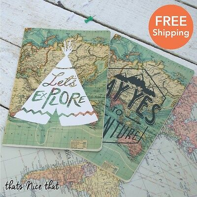 A5 Set of 2 Map Travel Notebooks Fun Gift Sketch Book Journal Diary Adventure