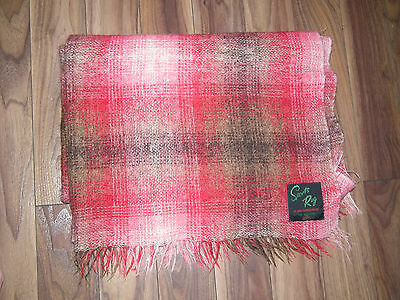 Vintage 60s RED WOOL MOHAIR THROW BLANKET SPORTS RUG  MADE IN SCOTLAND