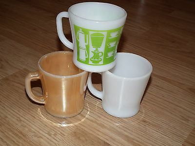 Set of 3 VINTAGE ANCHOR HOCKING FEDERAL GLASS MUGS PEACH, WHITE, COFFEE POTS