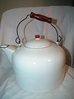 Large Vintage Red And White Enamel Graniteware Wire Handle Kettle