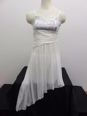 Dance Costume Medium Adult City White &Silver Lyrical Modern Solo Competition