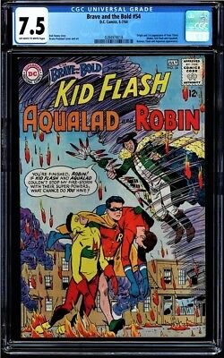 Brave And The Bold #54 Oww Cgc 7.5 Origin & 1St App Teen Titans Cgc #0284974018