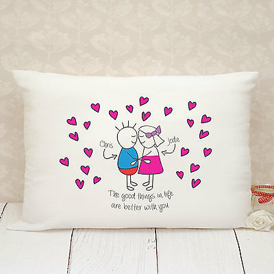 Personalised Pillow Case - Gift - Present - For Boyfriend or Girlfriend