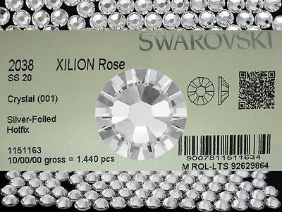 Swarovski Xilion Rose flatback HotFix Art.2038, 20ss clear Crystal HF, 5mm ss20