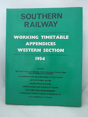 1934 Southern Railway Western Section Working Timetable Appendices 1978 Reprint