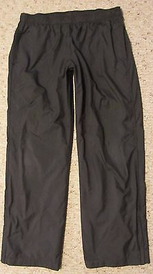 NIKE L Athletic Apparel Black Running Polyester Windbreaker Pants Lined Black