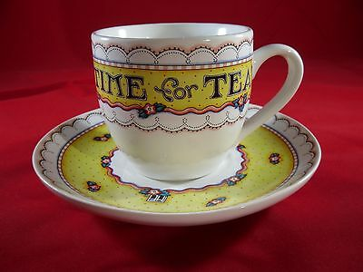 Mary Engelbreit TIME FOR TEA Cup and Saucer Set Yellow White ME Ink Vtg 7 oz