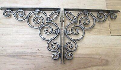 "PAIR OF LARGE 12"" Cast iron vintage Scroll shelf brackets cistern sink toilet"