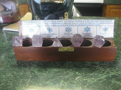 Handcarved Solid Amethyst 5 Piece Sacred Geometry Set In Wooden Display Box