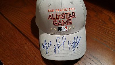 2007 All Star Mlb David Ortiz Mike Lowell Jonathan Papelbon Auto Signed Hat Coa