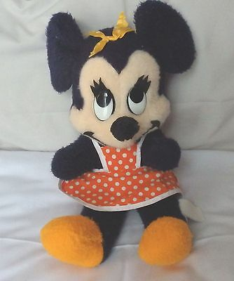 """Minnie Mouse. Approx 15"""" Orange accessories. Quite Old & in Fair Condition"""