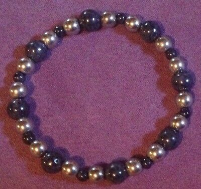 Sapphire & Silver-Plated Hematite Bracelet - Gemstone Crystal Healing - Stretchy
