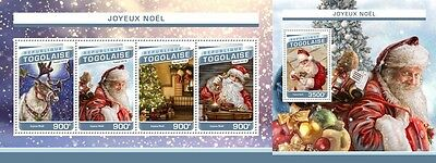 Z08 IMPERFORATED TG16515ab TOGO 2016 Merry Christmas MNH ** Postfrisch Set
