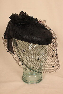 Black VINTAGE hat with veil & bow by PETER BETTLEY, London