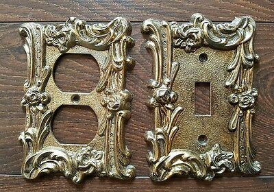 Pair Of Vintage Ornate Floral Brass Outlet Single Toggle Switch Plate Covers
