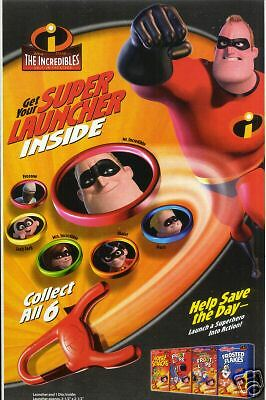 SET 6 INCREDIBLES movie SUPER  LAUNCHER Kellogg's Cereal box promo flying disc