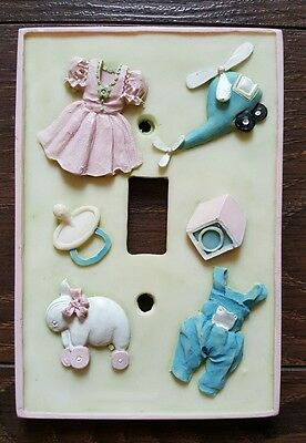 Vintage Baby Nursery Single Toggle Light Switch Plate Cover Relief Toys Clothes