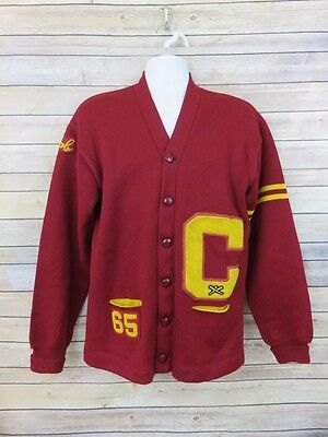 "VTG Dehen Knitting Co 1965 Letterman sweater red cardigan sweater ""C"" Bob Large"