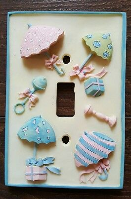 Vintage Baby Nursery Single Toggle Light Switch Plate Cover Relief Umbrella Toy