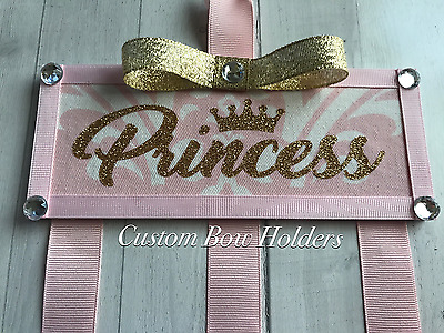 Hair Bow Holder - Personalized Princess Pink & Gold Glitter Bow Organizer