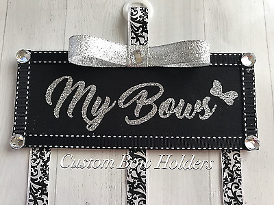 Hair Bow Holder - Personalized My Bows Black & Silver Glitter Bow Organizer