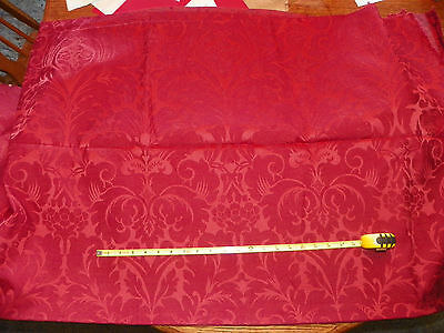 Cranberry Red Victorian Print Chenille Upholstery Fabric Remnant  1 Yard F391