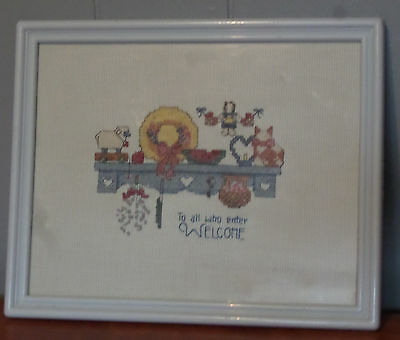 To All Who Enter Welcome Cross Stitch Completed Framed