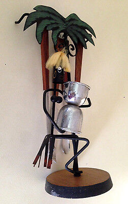 Vintage African Naked Lady Figure Palm Tree Bar Set Wood Stainless 5 Piece Japan
