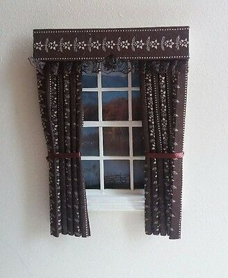 Dolls House Curtains Brown And Cream
