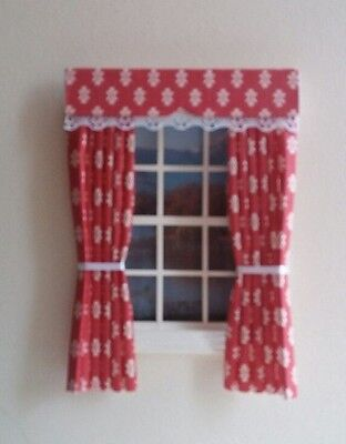 Dolls House Curtains Red Owen  Made In Laura Ashley Fabric