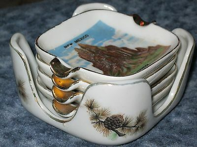 New Mexico Porcelain Souvenir Personal Ashtray Set Stackable Holder Vintage