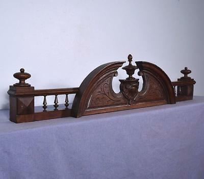 """43"""" French Antique Pediment/Crest/Crown in Solid Oak Wood"""