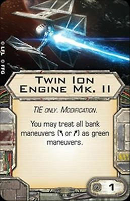 Star Wars X-wing Miniatures Twin Ion Engine Mk. II Tie Modification upgrade card