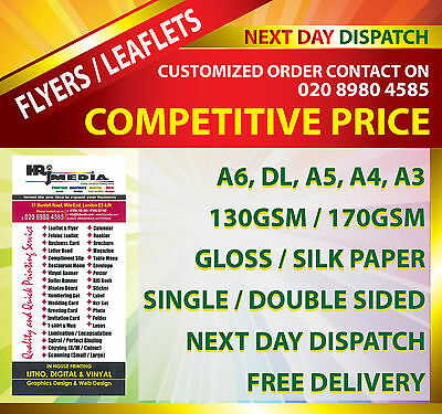 Flyers / Leaflets Printed on 130 / 170 gsm Gloss / Matt Paper A6, DL, A5, A4, A3