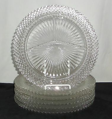 """6 Anchor Hocking MISS AMERICA CRYSTAL *10 1/4"""" GRILL PLATES*"""