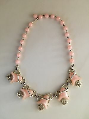 Women's Vintage Beaded Necklace Pink & Gold Tone Statement Marked Volupte