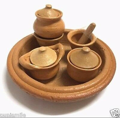 10P Vintage Terracotta Pottery Pot Stove Mortar Toy Kitchen Child Play Miniature