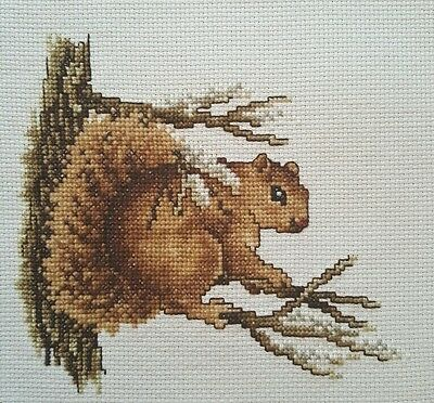 Finished Handmade Cross Stitch Brown Tree Squirrel Round Unframed Completed